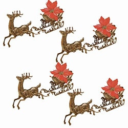 Brass Reindeer with Sleigh Decoration (Set of 4)
