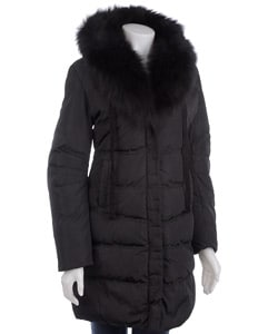 Tahari Women's Barbara Fox Fur Collar Down Coat
