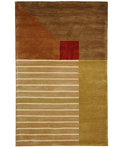 Handmade Rodeo Drive Trio Multicolor N.Z. Wool Rug (6' x 9')
