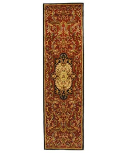 Handmade Classic Royal Red/ Black Wool Runner (2'3 x 8')