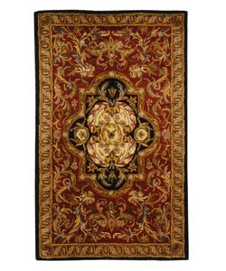 Handmade Classic Royal Red/ Black Wool Rug (3' x 5')