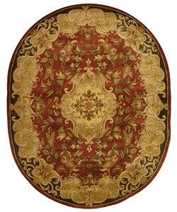 Safavieh Handmade Classic Juliette Rust/ Green Wool Rug (4'6 x 6'6 Oval)