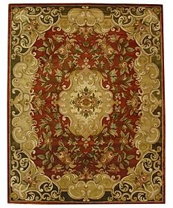 Handmade Classic Juliette Rust/ Green Wool Rug (8'3 x 11')
