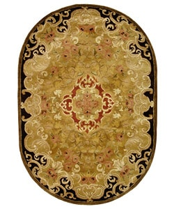 Safavieh Handmade Classic Juliette Gold Wool Rug (4'6 x 6'6 Oval)