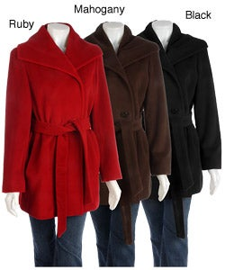 Ellen Tracy Wool Angora Pea Coat