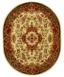 Safavieh Handmade Classic Juliette Ivory/ Green Wool Rug (7'6 x 9'6 Oval)