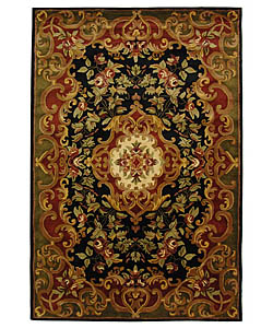 Safavieh Handmade Classic Juliette Black/ Green Wool Rug (6' x 9')
