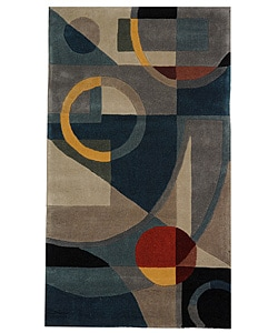 Handmade Rodeo Drive Deco Blue/ Multi N.Z. Wool Rug (2'6 x 4'6)
