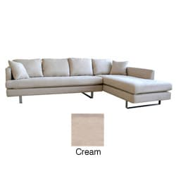 Beatrice Cream Microfiber Sofa with Chaise Set
