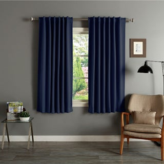Aurora Home Solid Insulated Thermal Blackout 63-inch Curtain Panel Pair