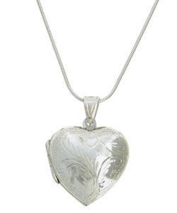Sterling Essentials Sterling Silver 24-inch Engraved Heart Locket Necklace
