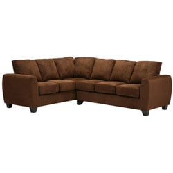 Metro Dark Brown Microfiber Twill Sectional Sofa
