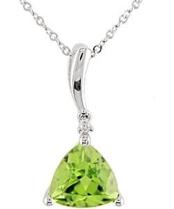 10k White Gold Trillian Peridot Diamond Necklace
