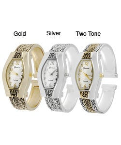 Geneva Platinum Women's Filigree Cuff Watch