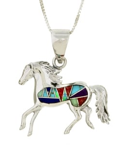Sterling Silver Multi-stone Horse Necklace