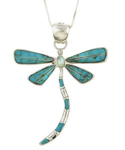 Sterling Silver Turquoise Opal Dragonfly Necklace