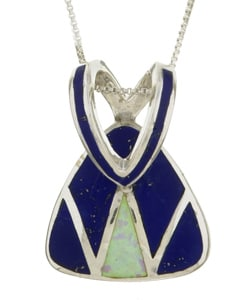 Sterling Silver Opal and Lapis Slide Necklace