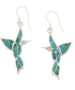 Sterling Silver Turquoise Opal Hummingbird Earrings