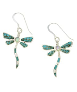 Sterling Silver Turquoise Opal Dragonfly Earrings