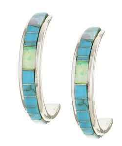Sterling Silver Turquoise Opal Hoop Earrings