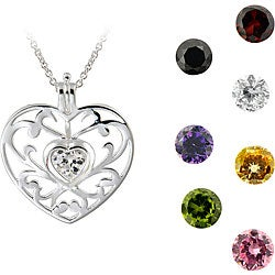 ICZ Stonez Sterling Silver Interchangeable CZ Heart Necklace
