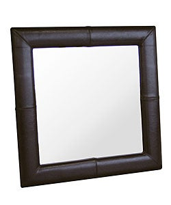 Aiken Dark Brown Bi-cast Leather Frame Mirror