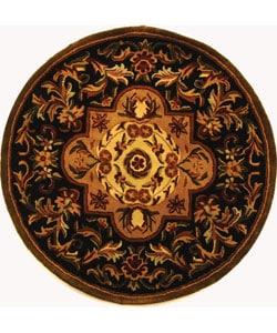 Safavieh Handmade Classic Royal Black/ Beige Wool Rug (3'6 Round)