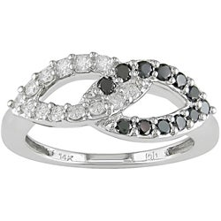 14k Gold 1/2ct TDW Black and White Diamond Ring