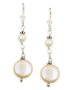 Charming Life Sterling Silver White Coin Pearl Earrings