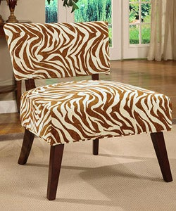 Occasional Chair Brown Zebra Print