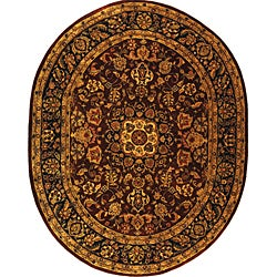 Safavieh Handmade Classic Kerman Burgundy/ Navy Wool Rug (7'6 x 9'6 Oval)