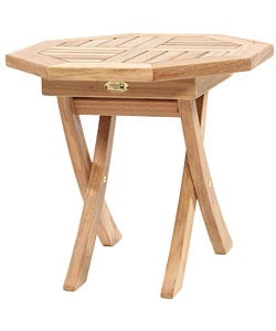 Octagonal Teak Folding Side Table