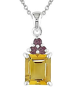 Sterling Silver Citrine and Rhodolite Necklace