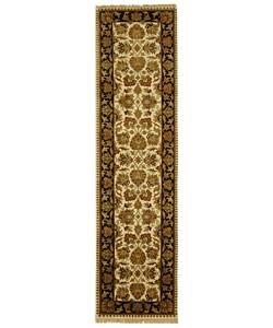 Safavieh Hand-knotted Beige/ Black Heirloom Wool Runner (2'6 x 12')