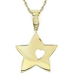 Miadora 10k Gold Diamond Accent Star and Heart Cutout Necklace