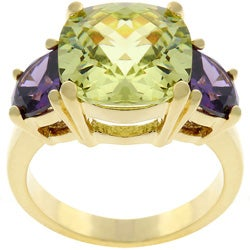Kate Bissett Goldtone Green and Purple Cubic Zirconia Ring