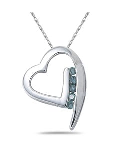 14k White Gold Blue Diamond Heart Necklace