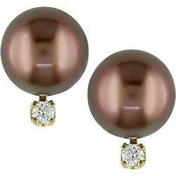 14k Gold Brown Tahitian Pearl Diamond Earrings (8-9mm)