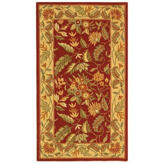 Handmade Paradise Red Wool Rug (2'9 x 4'9)