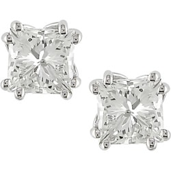 Miadora 18k Gold 2ct TDW Princess-cut Diamond Earrings