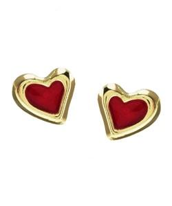 Gioelli 14k Yellow Gold Red Enamel Heart Stud Earrings