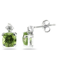 10k Gold Cushion-cut Peridot and Diamond Earrings