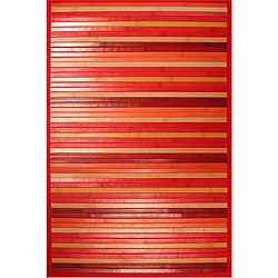 Handmade Red Bamboo Rug (3' Octagon)