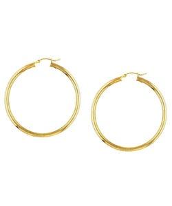 Sterling Essentials 14k Gold over Sterling Silver Hoop Earrings