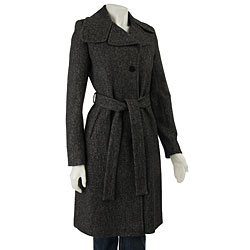 DKNY Women's Wool Boucle Herringbone Coat