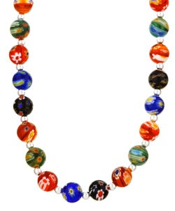 Glitzy Rocks Sterling Silver Venetian Glass Bead Necklace