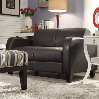 TRIBECCA HOME Clove Brown Faux Leather Contemporary Loveseat