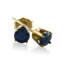 14k Yellow Gold Blue Sapphire Stud Earrings