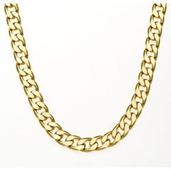 Simon Frank 14k Yellow Gold Overlay 30-inch Cuban Necklace 10mm