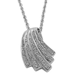 Fremada Sterling Silver 1/10ct TDW Diamond Shell Necklace